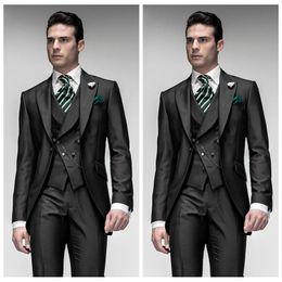 Wholesale 2019 Black Groom Wedding Tuxedos Tailor Groomsman Suit Slim Fitted Mens Prom Party Suits Piece Tail Peaked Lapel Custom Jacket Vest Pant