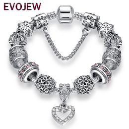 Мода античный 925 серебряные браслеты браслеты Кристалл сердце Шарм бусины браслет для женщин DIY оригинальный подарок ювелирных изделий на Распродаже
