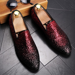 b25430d48c63 hot men Italy Designer Sequin Glitter loafer Shoes Colorful Toe Slip On  Sequined male wedding spring autumn flats shoes