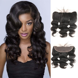 $enCountryForm.capitalKeyWord Australia - Peruvian Virgi Hair Natural Black Body Wave Human Hair 13*4 Frontal Closure Different Size For You 10-22Inch For Sale