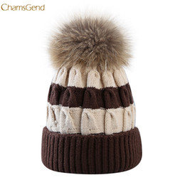 $enCountryForm.capitalKeyWord Australia - 2018 Hot Sale Fur Ball Cap Winter Hat Women Girls Hat Fight Color Knitted Beanies Cap Dropship 170929