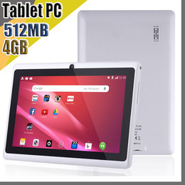 Wholesale E NEW 7 inch Capacitive Allwinner A33 Quad Core Android 4.4 dual camera Tablet PC 4GB 512MB WiFi EPAD Youtube Facebook Google A-7PB