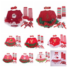 1dd620152ea Christmas Baby Santa Romper Headband Tutu Dress Outfit Set Xmas Outfits  4pcs Clothing sets Romper Kids Long Sleeve Rompers KKA5661