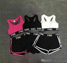 Summer Tops Yoga Pants NZ - wholesale-Letter Tracksuit Lady Summer Sport Wear Running Fitness Bra Shorts Gym Top Vest Pants Set Women Yoga Suit 2pcs Underwears 6 Colors