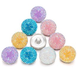 $enCountryForm.capitalKeyWord NZ - Interchangeable Jewelry Noosa Chunks Summer Style Colorful Resin 18mm Snap Button DIY Charms Fit Metal Snap Button Bracelet Bangles