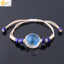 Ball Bracelets NZ - CSJA Factory Price Glass Cabochon Crystal Ball Dried Flower Pink Blue Purple Charms Bracelet Cheap 8 Color Handmade Weave Girls Jewelry F728