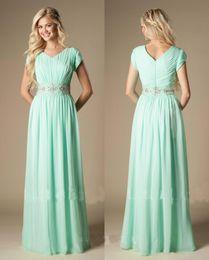 b104b59cd0c High Quality Beaded Mint Green Bridesmaid Dress Modest A-Line Chiffon  Formal Maid of Honor Dress Wedding Guest Gown Custom Made Plus Size