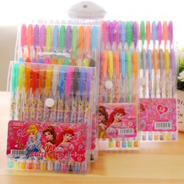 Discount gel highlighters wholesale - 6 colors 18 colors Princess Gel Ink Pen Kawaii Color Pen Kids Stationery Highlighter Pens Caneta For Black Card Paper