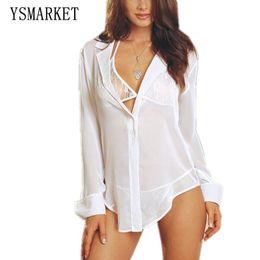 bed4ecefe4 Hot Sale Women Sexy White Black Lingerie Suit Shirt Top +Bra+Panty Short  Dress Perspective Gauze Chiffon Sleepwear Underwear Nightdress E008