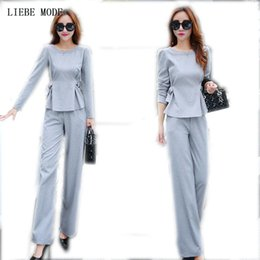 Wholesale women office trouser suits resale online - Jacket Trousers Piece Ladies Office Wear Suit Grey Pink Womens Business Sets With Pants Formal Pant Suits For Women