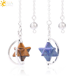 Discount wicca crystals - CSJA Natural Stone Merkabah Pendulum Divination Dowsing Wicca Judaism Jewelry for Women Men Revolvable Quartz Crystal As