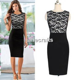 PePlum dresses online shopping - Sexy Lady Women Sleeveless Lace Slim Bodycon Cocktail Party Evening Pencil Dress