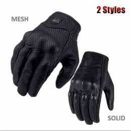 Short Motorcycle Leather Gloves NZ - Touch Screen Motorcycle Leather Gloves Riding Racing Bike Protective Armor Short