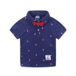 baby boy polo Australia - Cotton Boys Polo Shirt With Bow Tie Baby Boys Clothes Cotton Short Sleeve Clothing For Boy Kids Summer Shirts For Children 2 -8yrs