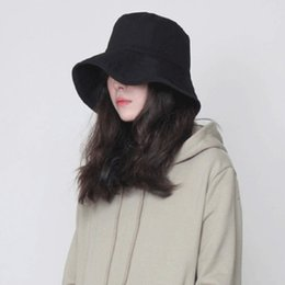 c25f9ebd30c Korean Fashion Spring Summer Women Bucket Hat Caps Comfortable Solid Color  Lady Fisherman Cotton Hat folded hem female sun