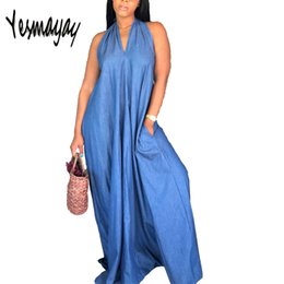 7a587ec0f1f Discount elegant denim dresses plus size - Casual Floor Length Maxi Denim  Dresses Women Summer Halter