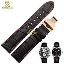 Wholesale Genuine leather watchband watch band Black red stitched Wrist watch strap mens leather bracelet mm