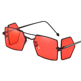 Chinese  X907 Small rectangle sunglasses men red lens yellow 2018 metal frame clear lens sun glasses for women unisex Punk glasses uv400 FML manufacturers