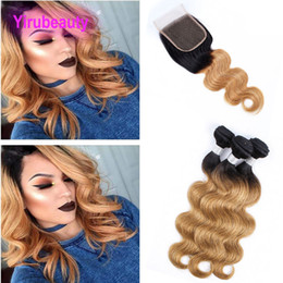 free hair bundles 2019 - Indian Virgin Hair Lace Closure 4X4 With 3 Bundles 8-28inch 1B 27 Double Color Body Wave Bundles With 4X4 Closure Free M