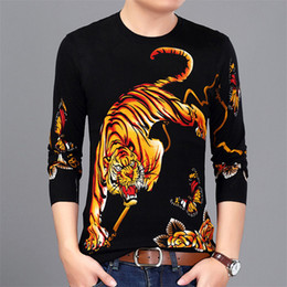 $enCountryForm.capitalKeyWord Canada - Chinese style tiger butterfly pattern printing fashion pullover sweater Autumn 2018 New quality cotton soft elastic sweater men