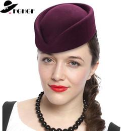 Discount blue felt hat - FGHGF Top Quality Women Wool Felt Beret Hat Teardrop Fancy Stewardess Air Hostesses Pillbox Hat Millinery Fascinator Bas