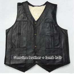 $enCountryForm.capitalKeyWord NZ - enuine sheep Leather Vest Mens Photography Vest With Many Pockets black Motorcycle And lamb hair Jacket Male Waistcoat