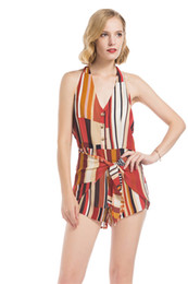 Wholesale wide leg jumpsuit backless for sale – dress New Sexy Women s Celeb Backless Printed Color Stripe Playsuit Wide Leg Jumpsuit Romper Shorts Summer Beach