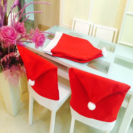 Tree Chair NZ - 1 2 4 5 6Pcs Christmas Santa Clause Hats Caps Chair Back Cover Navidad Christmas Table Decoration for Home New Year Products Y18102609