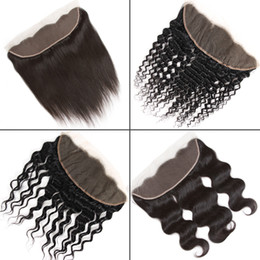 Top closure brazilian curly hair online shopping - Brazilian Virgin Hair x4 Lace Frontal Closure From Ear to Ear Peruvian Straight Body Water Deep Kinky Curly Silk Top Lace Frontal