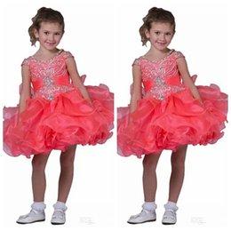 Make Mini Cupcakes Australia - Off Shoulder Little Pageant Cupcake Dresses Toddler Straps Crystal Short Mini Dress Kids Gorgeous Ruffles Tutu Flower Girls 2019