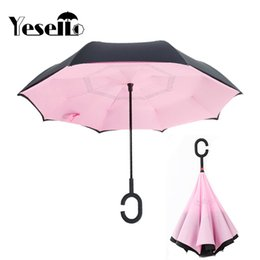 $enCountryForm.capitalKeyWord Australia - Yesello Pink Reverse Double Layer Inverted Umbrella Self Stand Rain Protection Long Hands Folding For Car Fishing