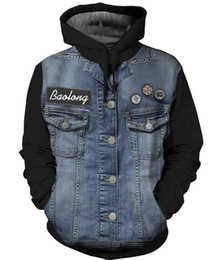 fashion jackets NZ - Mens Panalled Denim Jacket Fashion Patch Designs Washed Jacket High Street Hooded Jacket with Pockets Large Size