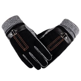 Fingerless Faux leather gloves online shopping - Men s Windproof Waterproof Bicycle Pigskin Slip Plus Velvet Thickening Gloves winter gloves men Faux suede Leather Full