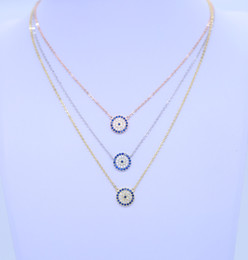 Discount blue evil eye chain - 2018 new fashion women gift party jewelry silver chain 925 sterling silver evil eye sideway cross necklace paved BLUE zi