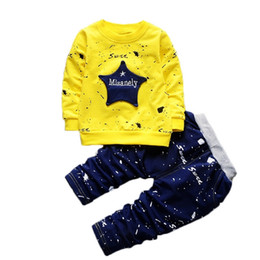 graffiti kids clothes Australia - Autumn clothes set printing star letters long sleeve top + long pants kids girls graffiti clothes set fashion boy's t-shirt