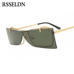 01a2be261a RSSELDN Flip Up Sunglasses Mujeres Moda Sin Lente Integrada Lente Retro  Rectangular Gafas de Sol Para Hombres UV400 Gafas de Metal Doradas