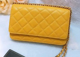 boxing bags 2019 - DHL Free 5A A33814 Cavier Quilted Classic Flap Wallet on Chain,Calfskin Leather,Gold Silver-Tone Metal hardware,Come wit