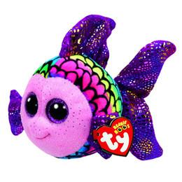 """$enCountryForm.capitalKeyWord Canada - Ty Beanie Boos Big Eyes Plush Colorful Goldfish Toy Doll With Tag 6"""" 15cm"""