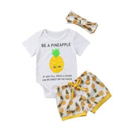 613b728513e Summer Baby Boy Girl 3pcs Pineapple Clothes Newborn Kids Romper + Shorts  Outfit Set