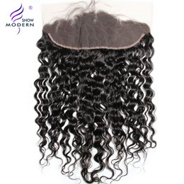 Wholesale Modern Show Hair Water Wave x4 Ear To Ear Pre Plucked Lace Frontal Closure With Baby Hairs Density Remy Human hair Weave