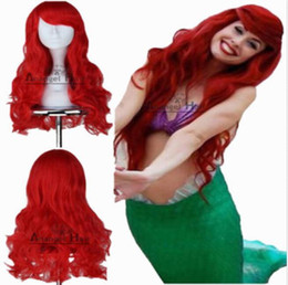 LittLe mermaid cospLay costume online shopping - Little Mermaid Ariel Wig Wavy Cosplay Wig Synthetic Long Red Curly Costume Wigs