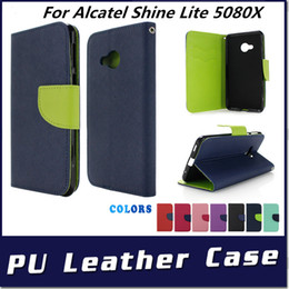 shining leather bags NZ - PU leather phone case For Alcatel Shine Lite 5080X High Quality Wallet Case Stand with opp bags C