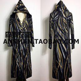 Discount dj stands - S-5XL 2017 NEW Men's slim Male DJ singer Black gold sequins cloak long coat Men plus size costumes clothing
