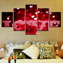 Love Wall Pictures NZ - Decor Paintings HD Printed Framework Wall Art 5 Pieces Red Rose Flowers Heart-Shaped Love Letters Poster Modular Canvas Pictures