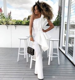 $enCountryForm.capitalKeyWord Canada - Vintage One Shoulder White Women Jumpsuit Prom Dresses With Big Bow Formal Party Evening Gowns Custom Made Special Occasion Dress