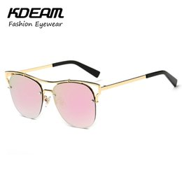 20315fb99cd Exclusive Navy Lense Cat Eye Sunglasses Mirror Gold-Plated Cats Glasses  Women Summer Beach Shades gafas de sol mujer KD6651