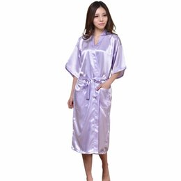 51c53c86c2 Wholesale- Plus Size S-XXXL Rayon Bathrobe Womens Kimono Satin Long Robe  Sexy Lingerie Nightgown Bridemaid Sleepwear with Belt