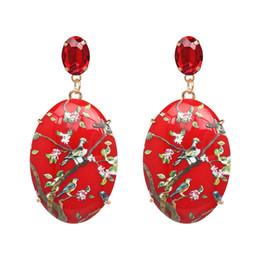 1db7fda084af Las mujeres de resina cuelgan los pendientes de moda bohemia gota grandes  pendientes joyería de traje accesorio brillante para el día de Navidad 4  colores 1 ...