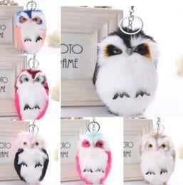 Media Keys Australia - Cute Fluffy Owl Fur Pom Pom Key Chains Ring Woman Fuax Rabbit Fur Owl Bag Charms Keychain Man Car Keyring Jewelry Trinkets Gift