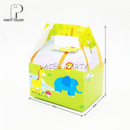 theme party supplies wholesale 2018 - 8pcs lot Candy Box Cake Box for Kids Jungle Animals Theme Party Baby Shower Party Decoration Favor Supplies discount the